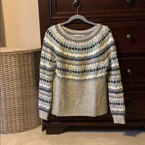 Loft fair isle grey sweater M beautiful